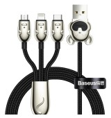 Baseus Three Mouse 3-in-1 Cable USB For M+L+T 3.5A 1.2m Black